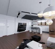 Designerski salon z białymi meblami i podwieszanymi sufitami