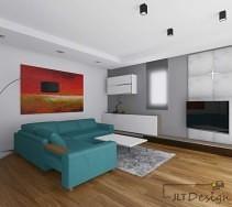 Nowoczesny salon z turkusową sofą i czerwonym obrazem