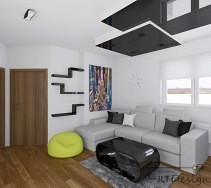 Szara kanapa w nowoczesnym designerskim salonie