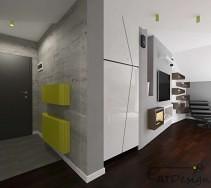 Nowoczesne mieszkanie z betonem strukturalnym na ścianie