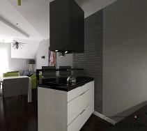 Wyspa kuchenna wydzielona z części salonu