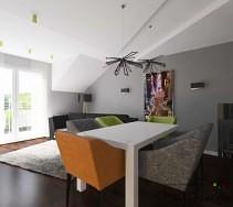 Stół jadalniany z ciekawymi kolorowymi krzesłami tapicerowanymi
