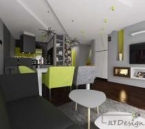 Biało szaro czarny salon z zielonymi akcentami