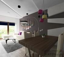 Stylowy nowoczesny salon z kobiecymi kolorowymi dodatkami