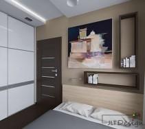 Interesująca sypialnia z dużą zabudowaną szafą