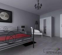 Sypialnia z dużym łożem w stalowej ramie