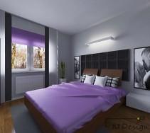 Nowoczesna aranżacja sypialni z czarnym pikowaniem na ścianie i fioletowymi dodatkami