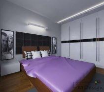 Nowoczesna sypialnia z dużą szafą w zabudowie i fioletowymi akcentami