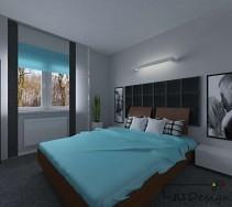 Nowoczesna sypialnia z czarnym zagłówkiem i niebieskimi dodatkami