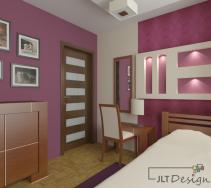 Przytulne, ciepłe wnętrze sypialni z brązowymi meblami