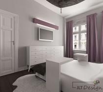 Biało fioletowa klimatyczna sypialnia