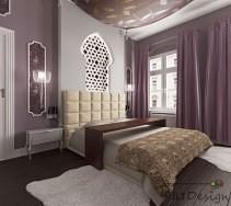 Sypialnia z fioletowymi zasłonami