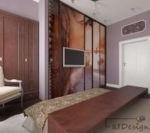Stylowa sypialnia z brązowymi meblami