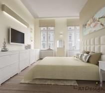 Jasna sypialnia z waniliowymi ścianami