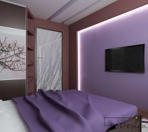 Fioletowa ściana telewizyjna w sypialni