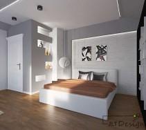 Nowoczesna sypialnia z białym łóżkiem i zabudowanymi półkami