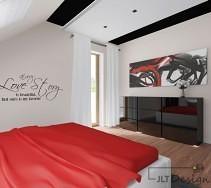 Czarna komoda w nowoczesnej sypialni