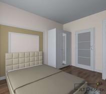 Sypialnia z beżowym łóżkiem