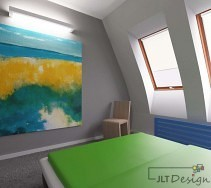 Duży, żółto-niebieski obraz w sypialni