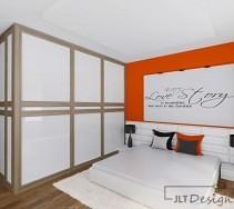 Nowoczesne wnętrze sypialni z garderobą