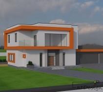 Frontowa ściana domu w kolorze jasnoszarym i dodatkiem pomarańczowych elementów.