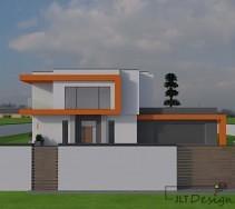 Projekt elewacji domu ze współgrającym ogrodzeniem.