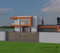 Widok prezentujący projekt elewacji budynku oraz ogrodzenia na tle intensywnie zielonej trawy.