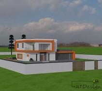 Projekt elewacji budynku wraz z ogrodzeniem - widok całości.