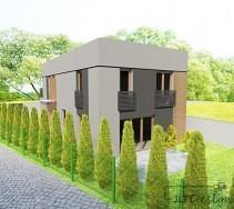 Widok elewacji budynku oraz działki z nasadzeniami roślinności,