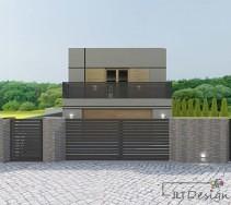 Projekt elewacji domu oraz dopasowanego ogrodzenia.