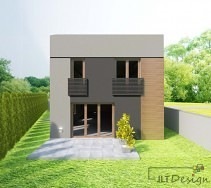 Ściana domu z wyjściem do ogrodu.