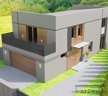 Widok elewacji domu - rzut z góry.