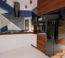 Biało brązowa kuchnia na tle oryginalnej, przestrzennej zabudowy