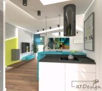 Asymetryczna wyspa oddzielająca kuchnię od salonu