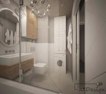 Wanna oddzielona od pozostałej części przejrzystej łazienki  szklanym parawanem