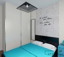 Sypialnia z ciekawą lampą