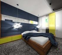 Sypialnia w odcieniach granatu, bieli i żółci.