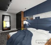 Sypialnia w stylu klasycznym w odcieniach bieli, szarości i granatu.