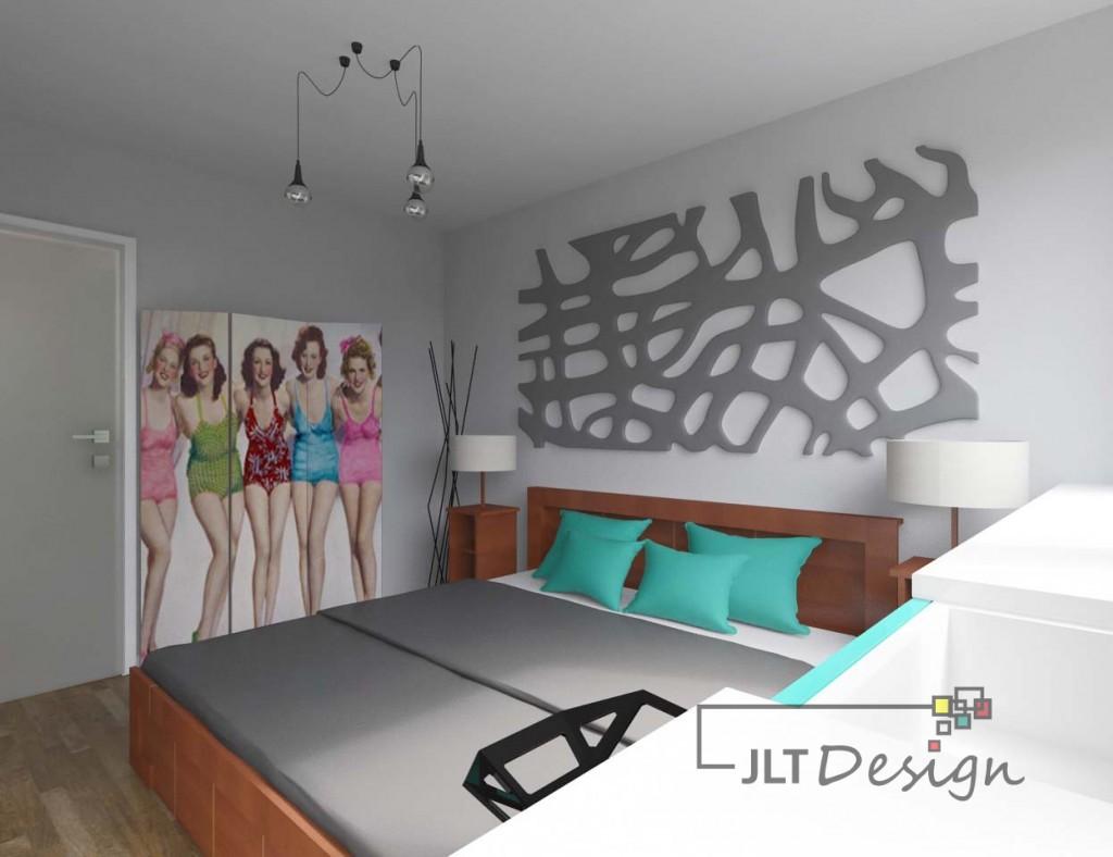 Sypialnia w odcieniach szarości z dodatkiem kolorowych poduszek. Oryginalny i designerski parawan stanowi charakterystyczny element dekoracyjny.