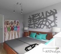 Sypialnia w odcieniach szarości z dodatkiem kolorowych poduszek. Oryginalna i designerska szafa stanowi charakterystyczny element dekoracyjny.