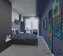Funkcjonalna sypialnia w ciemnych barwach rozjaśniona białymi dodatkami w postaci mebli , poduszek i sufitu podwieszanego