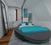 Łóżko o nietypowym kształcie w sypialni