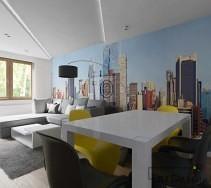 Piękny biały stół oraz kontrastujące krzesła w kolorach żółci i czerni.