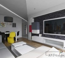 Salon w odcieniach bieli, czerni i szarości oraz akcentem żółci.