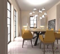 Designerskie żółte krzesła w jadalni