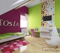 Ściana we wzory w przestrzennym, kolorowym pokoju dziecięcym