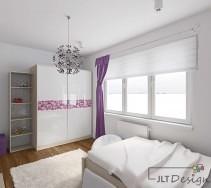 Piękna biała szafa z fioletowym ornamentem oraz idealnie pasującą do wnętrza lampą sufitową.
