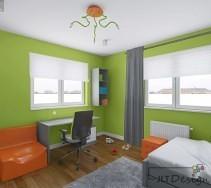Projekt wnętrza pokoju dziecięcego w odcieniu zieleni.