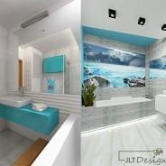 Łazienka w odcieniach niebieskiego
