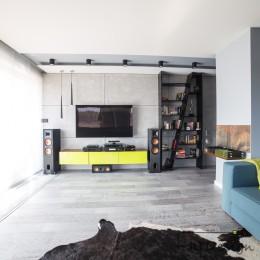 Ściana z TV w realizacji wnętrza salonu zaprojektowanego przez JLT Design, Bydgoszcz.